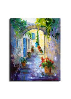 Impressionist oil painting Provence Village, Hidden Passage, Provence Landscape Knife painting, Modern Impressionist art oil painting 12x16""