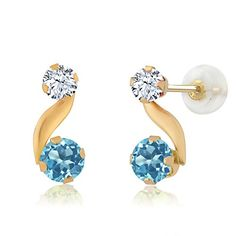 Promise Rings Simple | 092 Ct Round Swiss Blue Topaz White Created Sapphire 14K Yellow Gold Earrings ** Click image for more details. Note:It is Affiliate Link to Amazon.