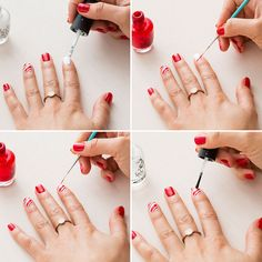 Use red and white nail polish to DIY candy cane nails.