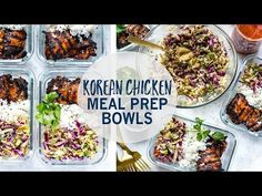 These Korean Chicken Meal Prep Bowls are a healthy make ahead lunch idea made up of chicken thighs, Asian coleslaw and jasmine rice! Honey, garlic, ginger sesame oil, soy sauce and edamame Paleo Meal Prep, Lunch Meal Prep, Meal Prep Bowls, Quick Healthy Lunch, Healthy Eating, Chicken Meal Prep, Chicken Recipes, Paleo Recipes, Cooking Recipes