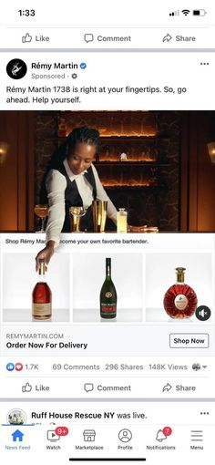 Title: Remy Martin E-commerce Hijack; Agency: FRED & FARID NY; Chief Creative Officers: Fred & Farid; Creative Director: Laurent Leccia; Sept. 2021. The agency hijacked Facebook and Instagram shoppable Collection ads, which allow users to swipe through products in-feed, while they view the video content. Users can shop the entire Remy Martin collection with few taps in their social feed. How can that be demonstrated within the confines of a traditional ecommerce ad? By breaking it!.
