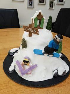 Snowboarding/Skiing  cake Snowboard Cake, Snowboarding, Skiing, Sally Ann, Grad Parties, Birthday Cake, Party, 18th, Cakes