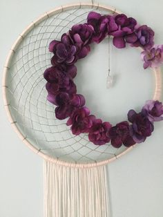 Floral dreamcatcher purple dreamcatcher wall art boho crescent moon dreamcatcher made by gypsysoulscdc mightylinksfo