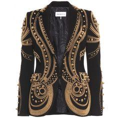 Emilio Pucci Metallic Bead Embroidered Blazer in Black
