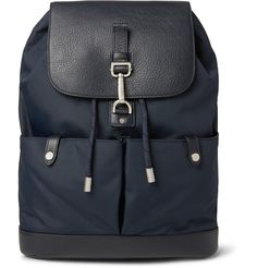 Capacious and durable, <a href='http://www.mrporter.com/mens/Designers/Mulberry'>Mulberry</a>'s 'Marty' backpack will help you navigate your commute with ease. This smart navy piece is made from tough nylon-canvas and is finished with tonal full-grain leather panels and sleek silver hardware. A bevy of large pockets makes it ideal to hold your current paperback, tablet and gym kit.