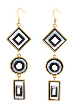 Kelly Wearstler Vaso Earring. Tiered with onyx and shell inlay.