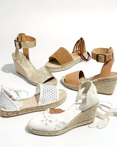 The new J.Crew women's espadrille. The classic beach shoe gets dressed up with ankle wraps, crackled metallic leather and lots of eyelet.