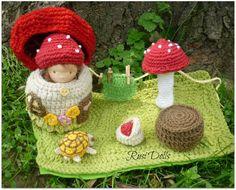 5 Waldorf Doll Crochet house mushroom turtle basket by RusiDolls