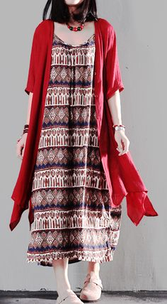 df107d15de481 Red print sundress asymmetric fake two pieces summer maxi dresses Warm  Dresses