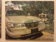 My husband Lincoln town car/ Acrylic on canvas  Mixed media Inez RIbeiro