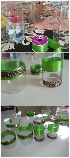 Lime green and  cheetah print for a candy display