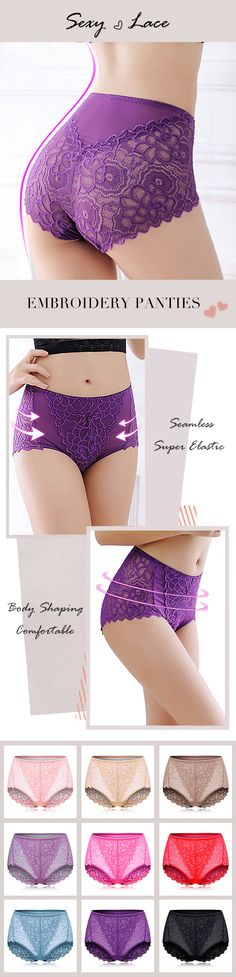 Lace High Cut Body-shaping Seamless Embroidery Panties Underwear!