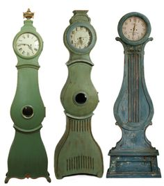 Mora Clock Seen At Bagatelle Antiques, Green Painted Mora Seen On Attic Mag.com, Blue Green Mora From Eloquence