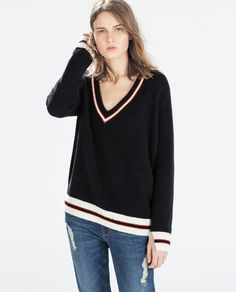 ZARA - SALE AW.14 - V-NECK SWEATER WITH COLORED PIPING