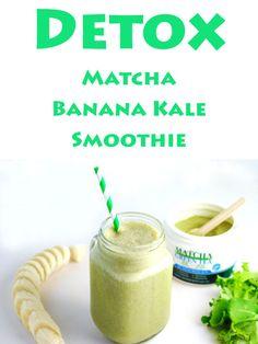 Detox Matcha Banana Kale Smoothie, We made this Dairy Free with Coconut Milk, Matcha Green Tea Powder, Banana, Kale, and Honey. | Tastefulventure.com