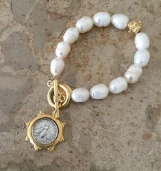 Hand-cast Gold and Silver Italian Bee Coin and Pearl Bracelet #diyjewelry