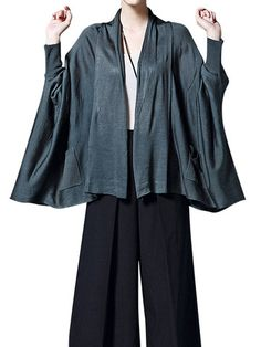 Casual Loose Batwing Sleeve Pure Color Irregular Hem Pocket Cardigan For Women - Newchic Plus Size Outerwear