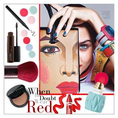 """""""When in doubt wear red"""" by frenchfriesblackmg ❤ liked on Polyvore featuring beauty, Topshop, Nails Inc., Guerlain, Clinique, Miu Miu, Bobbi Brown Cosmetics and MAC Cosmetics"""