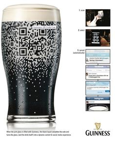 Guinness build QR code into glass - Pure Genius!