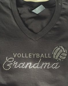 Volleyball Grandma sparkling tees with rinestones. Soft V-neck adult tee, loose fit very flattering and yes with bling. Volleyball Store, Volleyball Outfits, Volleyball Shirts, Beach Volleyball, Volleyball Ideas, Rhinestone Tshirts, Kid Picks, Soccer Gifts, Kids Sports