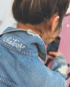 hidden collar words on denim + denim jacket