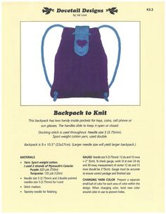 Backpack to Knit - Dovetail Designs K3.2