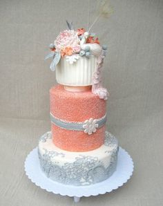 beautiful coral & grey color theme cake.