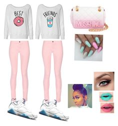 """""""Besties👯💅🏾"""" by omgitskaay ❤ liked on Polyvore featuring Maison Kitsuné, NIKE and Moschino"""