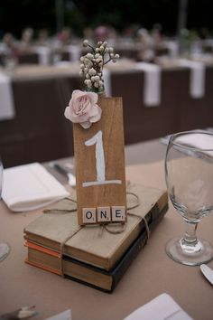 Cute idea for table markers at a part or reception or dinner table diy, wed Book Wedding Centerpieces, Wedding Table Decorations, Diy Wedding Favors, Wedding Ideas, Wedding Photos, Centrepieces, Wedding Inspiration, Wedding Book, Rustic Wedding