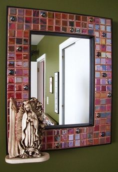 """In Guad (Guadalupe) We Trust"" Mexican Guadalupe Mosaic Framed Mirror / Mike Squared Mosaics #MexicanStyleContemporaryMosaic"
