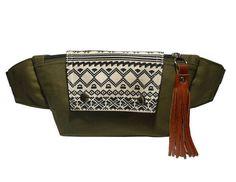 Dark Olive Green Thai Triangle Fanny packs/Boho bag/Thai Bag/