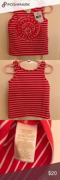 Kate Spade Rosette Tank. This gorgeous Kate Spade tank is perfect for summer. You'll be hearing ooohs and ahhhs at the playground with this show-stopping top. Five star rating. Top 10% seller. Quick shipping. Pet and smoke free home. NWT. kate spade Shirts & Tops