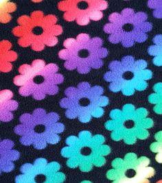 Anti-Pill Fleece Fabric Rainbow Flowers On Black