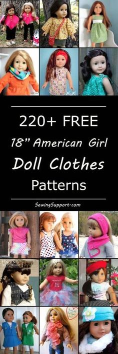 Over 200 free 18 inch, American Girl doll clothes sewing patterns, tutorials, and diy projects. Many simple, quick, and easy designs. Sew dresses, skirts, tops, pants, and more! by Makia55