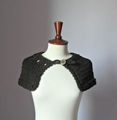 Knitted Capelet Dark Brown Chocolate  Handmade
