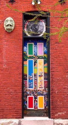 Louis, Missouri - now this is a real door! Cool Doors, Unique Doors, Entrance Doors, Doorway, When One Door Closes, Knobs And Knockers, Door Gate, Gates, Painted Doors