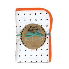 Baby blanket/wrap with orange trim