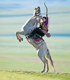 """""""A Mongolian woman rider with arrow archery . Mounted Archery, Action Poses, People Of The World, Horse Art, Animal Photography, Scenic Photography, Night Photography, Photography Tips, Landscape Photography"""