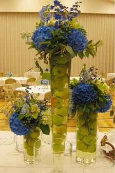 "floral arrangements for weddings orange sunflowers | Something Blue"" Serving Table Arrangements : Light, dark blue, and ..."