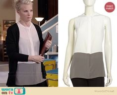 Kristina's white and grey colorblock shirt on Parenthood.  Outfit Details: http://wornontv.net/39019/ #Parenthood