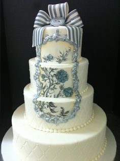 Framed hand painted and quilted wedding cake. So beautiful.
