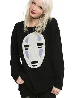 Studio Ghibli Her Universe Spirited Away No-Face Girls Sweater, BLACK