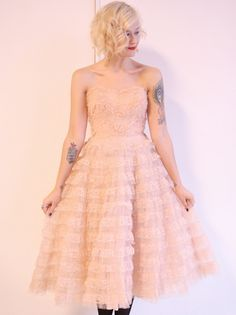 1950s vintage // lace & tulle ruffled party dress