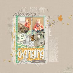 love the colors and layering in this #scrapbook page from Melissa at DesignerDigitals.com