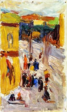 Expressionismus in Deutschland — Wassily Kandinsky, Street Corner, 1903 Kandinsky Art, Wassily Kandinsky Paintings, Klimt, Abstract Expressionism, Abstract Art, Abstract Landscape, Art Moderne, Art Abstrait, Russian Art