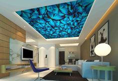 Blue Butterfly Ceiling Wallpaper Removable Self Adhesive Wallpaper Large Peel & Stick Wallp Wallpaper Paste, Paper Wallpaper, Self Adhesive Wallpaper, Custom Wallpaper, Peel And Stick Wallpaper, Custom Wall Murals, Traditional Wallpaper, Blue Butterfly, Crowd