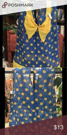 NWOT Super Cute Polka Dot top NWOT. Sheer top. Blue with yellow polka dots. Lulumari Tops Blouses