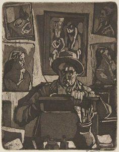 """""""Der Radierer"""" von Hans Körnig - Selbst im Atelier vor eigenen Arbeiten. Radierung, Aquatinta auf Kupfer. 1953. Bildrechte: Museum Körnigreich"""