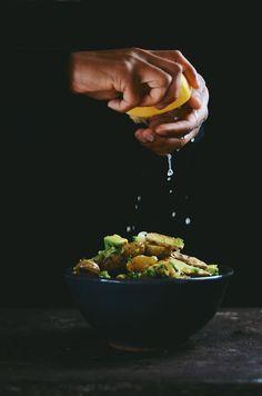 coriander roasted fingerling potato salad with avocado