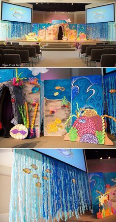 Amazing under the sea party decorations. Originally for Ocean Commotion VBS. Amazing under the sea party decorations. Originally for Ocean Commotion VBS. Great for a mermaid or nemo party. Under The Sea Theme, Under The Sea Party, Ocean Themes, Beach Themes, Deco Theme Marin, Decoration Creche, Diy Decoration, Under The Sea Decorations, Ocean Party Decorations